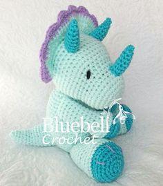 Crochet dinosaur triceratops pattern. by BluebellCrochet on Etsy