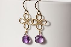 14k Gold Filled Purple Amethyst Heart Briolettes - Luck of the Irish Clover Earrings, by PrincessTingTing on Etsy, $30.00