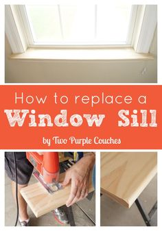 Step-by-step tutorial shows you how to replace a window sill for a custom look.  via www.twopurplecouches.com #diy #masterbedroommakeover #buildlikeagirl