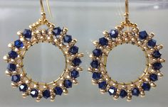 Gold hoops beaded elegant earrings dark sapphire crystals