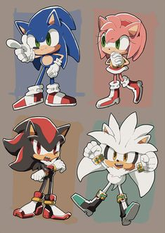 My most favorite hedgehogs in the world! Sonic Funny, Sonic 3, Sonic And Amy, Sonic And Shadow, Sonic Fan Art, Sonic The Hedgehog, Silver The Hedgehog, Shadow The Hedgehog, Sonic Adventure