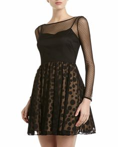 Polka-Dot Skirt Dress, Black by Aidan Mattox at Neiman Marcus Last Call.