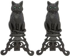 Uniflame Black Cast Iron Cat andirons with Reflective Glass Eyes by Uniflame
