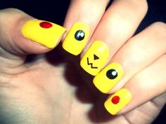 pikachu pokemon nails. love it!
