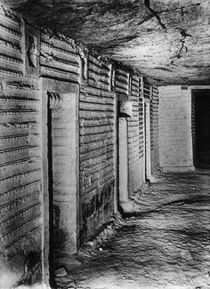 Inside the Step Pyramid, Sakkara, 3rd Dyn. Blue faience chambers. Taken around 1900.