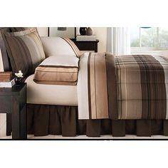 Brown & Tan Striped Boys Twin Comforter Set (6 Piece Bed In A Bag) //Price: $37.52 & FREE Shipping //     #bedding