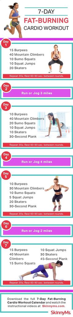 7-Day Fat Burning Cardio Workout - Start today! #skinnyms #cardio #workout