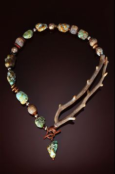 Necklace | Chris Carlson.  Alaskan coral branch with turquoise.