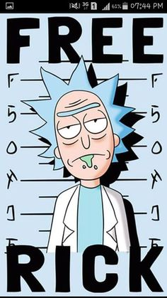 'Free Rick' Poster by Wizz Kid Rick And Morty Drawing, Rick And Morty Tattoo, Rick And Morty Quotes, Rick And Morty Poster, Cartoon Stickers, Cartoon Art, Iphone Wallpaper Rick And Morty, Rick And Morty Image, Ricky Y Morty