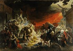 The Last Day of Pompeii is a large canvas painting by Russian artist Karl Bryullov in 1830-33. Briullov visited the site of Pompeii in 1828, making numerous sketches depicting the 79 CE Vesuvius eruption. The completed canvas was exhibited in Rome to rapturous reviews of critics and thereafter transported to Paris to be displayed in the Louvre.