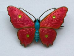 ART DECO STERLING ENAMEL BUTTERFLY BROOCH JOHN ATKINS AND SON