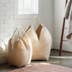 We partner with artisans to create modern goods for the well-traveled home. Modern Baskets, Large Baskets, Time And Weather, Green Living Tips, Plant Fibres, Organic Modern, Basket Decoration, Diamond Pattern, Storage Baskets