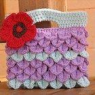 Girls Bag / Purse with Large Flower , Crochet Pattern PDF