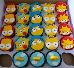 Cartoon Cupcakes, Kid Cupcakes, Baking Cupcakes, Yummy Cupcakes, Cupcake Cookies, Bolo Simpsons, Simpsons Party, The Simpsons, Oreos