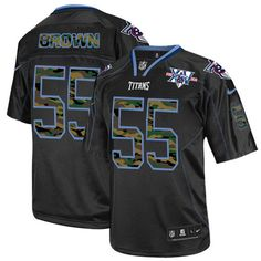 Zach Brown Men's Elite Black Jersey: Nike NFL Tennessee Titans Camo Fashion #55 15th Season Patch