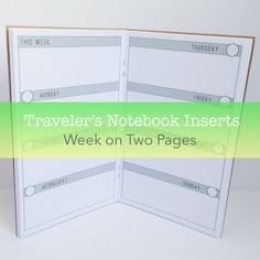 Week on Two Pages Planner -- No Grid {Field Notes Size} Traveler's Notebook Insert Booklet // Choose Cover & Paper Colors!
