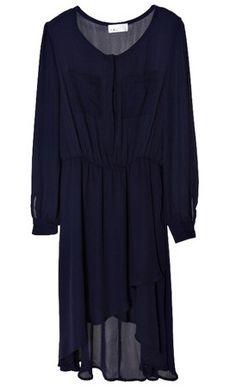 Pockets Long-sleeved Waist Chiffon Dress Blue