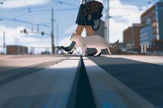Catwalk by on DeviantArt Fanart, Totoro, Arte Peculiar, Pixiv Fantasia, Color Script, Portraits, Anime Scenery, Pretty Art, Aesthetic Art