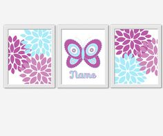Butterflty Baby Girl Nursery Wall Art Purple Lavender Blue Flower Burst Personalized Nursery Art Girl Room Wall Decor Butterfly Wall Decor