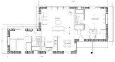 KozyKasa straw bale house plans--1140 sq ft, 2 bedroom, 2 bath