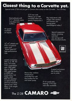 1968 Chevrolet Camaro Z28 Advertising Road & Track May 1968