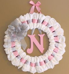 Large Custom Pink and Grey Diaper Wreath with Painted Wooden Wall Letter and Ribbon Baby Shower Gift Nursery Wall Decor - Decoration For Home Idee Baby Shower, Cute Baby Shower Ideas, Baby Shower Diapers, Girl Shower, Baby Shower Gifts, Baby Gifts, Girl Gifts, Baby Kranz, Diaper Wreath Tutorial