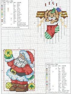 Punto de Cruz GRATIS: Muchos Gráficos de Papa Noel y sus amigos
