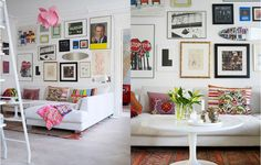 love the wall of art - what a happy & colorful space - via design attractor