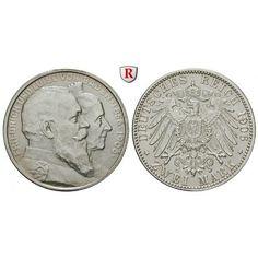 Deutsches Kaiserreich, Baden, Friedrich I., 2 Mark 1906, Goldene Hochzeit, G, vz/st, J. 34: Friedrich I. 1852-1907. 2 Mark 1906 G.… #coins