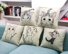 Throw Pillow Case Cotton linen Sofa Cushion Cover Home Decor Cat Emotion 45cm   Home & Garden, Home Décor, Pillows   eBay!