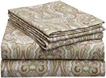 Pointehaven Heavy Weight Printed Flannel Sheet Set, Queen, Paisley