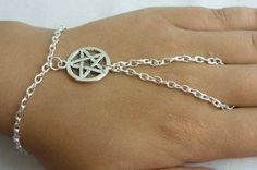Pentagram Slave Chain Hand Harness Silver Plated Bracelet ~ Goth Witch Pagan: Billie-jo: Amazon.co.uk: Jewellery