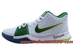 pretty nice 9aa06 3a3a1 Nike Kyrie 3 ID Chaussures de BasketBall Pas Cher Pour Homme Blanc Vert