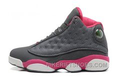 new product 6eedc 75ca6 Womens Air Jordan 13 GS Retro Cool Grey Fusion Pink-White Sale New Style  DK83ay
