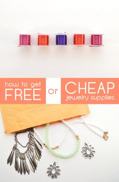How to get cheap or free jewelry supplies for all your awesome projects! This is how you can really save money, while letting your crafty side go crazy. Tips here: http://www.ehow.com/how_4788240_jewelry-making-supplies-cheap.html?utm_source=pinterest.com&utm_medium=referral&utm_content=article&utm_campaign=fanpage