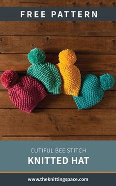 Cutiful Bee Stitch Knitted Hat [FREE Knitting Pattern] Create a set of these toasty knitted baby beanies with pompoms for a thoughtful handmade baby shower gift any parent will love! Knitted Baby Beanies, Baby Hats Knitting, Knitting Yarn, Knitted Hats, Knitting For Kids, Fall Knitting Patterns, Knitting Blogs, Crochet Patterns, Easy Knitting Projects