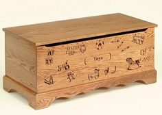 The Oak Wood Toy Chest with Carving and Optional Engraving from DutchCrafters Amish Furniture is built using heirloom-quality construction to outlast the wear and tear of having toys thrown into it after a morning, afternoon, and evening of play. Pass on the design with carved details and optional engraved brass plate to the next generation of little ones. #toychest #woooden #girls #boy #kids #organization #custom