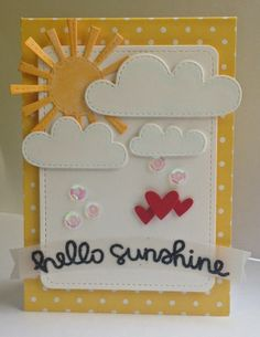 Lawn Fawn - Spring Showers, Stitched Journaling Card, Hearts Lawn Cuts, Hello Sunshine _ sunny card by Kim at Craf-T Scrap: Lawnscaping Challenge - embossing