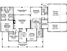 Country Farmhouse Traditional House Plan 59172 Level One