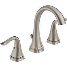 Delta Celice Stainless 2 Handle Widespread WaterSense Bathroom Faucet  (Drain Included)