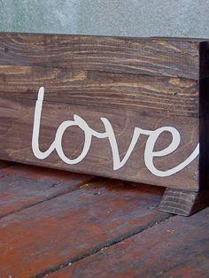 "Reclaimed Wood ""Love"" Sign II. $65.00, by RusticWoodOriginals on Etsy."