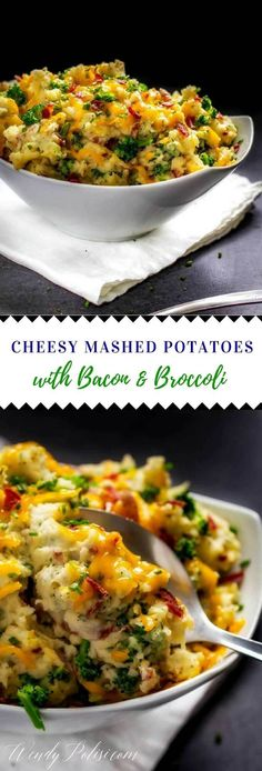 Cheesy Mashed Potatoes with Bacon and Broccoli