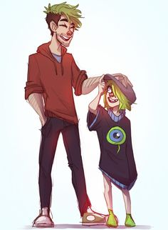Jack with little human sam :3 - I can be cool I swear