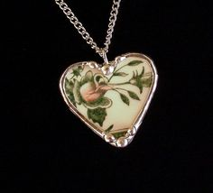 Broken china jewelry Antique green rose heart shaped necklace pendant made from a broken plate