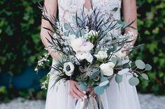 Bouquet recipe: air plants, anemone, ranunculus, succulent, feather eucalyptus, silver dollar eucalyptus, fringed tulip