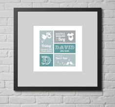 Personalised Print - It's a Boy (New Baby). This personalised typographic art print is a lovely gift for any new baby in your life, whether your own new baby or that of family or friends.