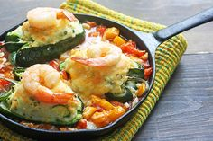 potato stuffed poblanos with shrimp - an awesome recipe utilizing summer veggies (and a great use for leftover mashed potatoes, too!)