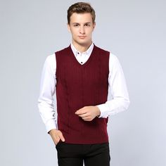 wool sweater vest mens cashmere pullover men V-neck sweaters 2016 ...