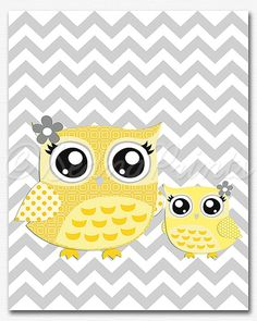 too cute! Yellow and Grey Nursery Art Print by SednaPrints on Etsy