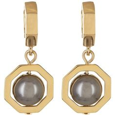 Louise et Cie Jewelry Faux Pearl Drop Mini Hoop Earrings ($15) ❤ liked on Polyvore featuring jewelry, earrings, gold, 14 karat gold earrings, 14k jewelry, fake pearl jewelry, imitation pearl earrings and hinged earrings